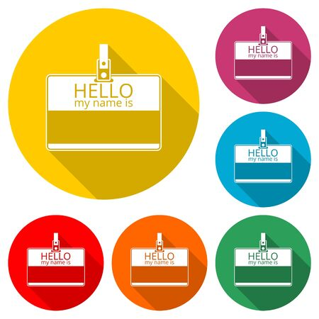 Hello my name card, with Copy Space icon, color icon with long shadow