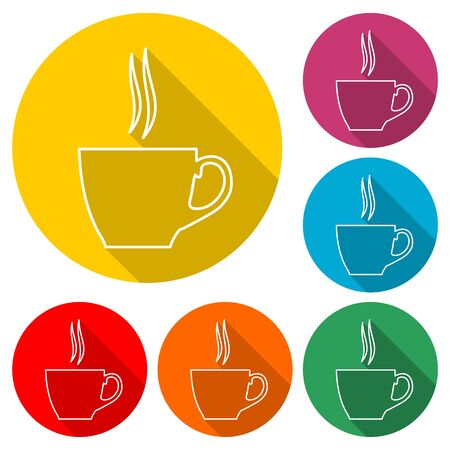 Coffee cup icon, color icon with long shadow