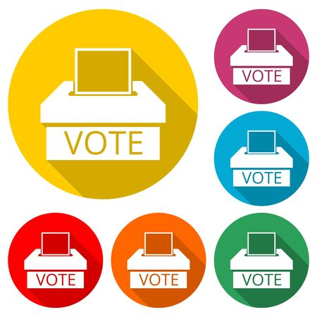 Voting icon, Vote concept, color icon with long shadow