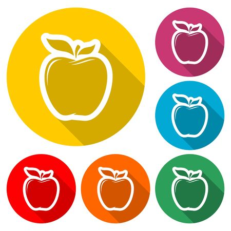 Apple icon, color icon with long shadow