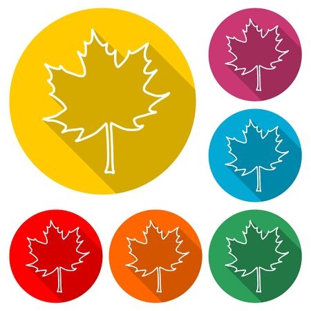 Maple Leaf icon, color icon with long shadow