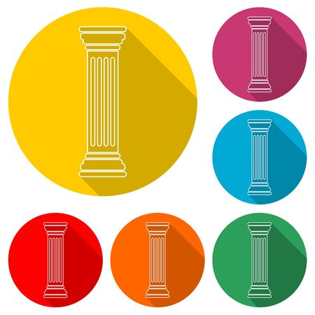 Antique Column icon, color icon with long shadow