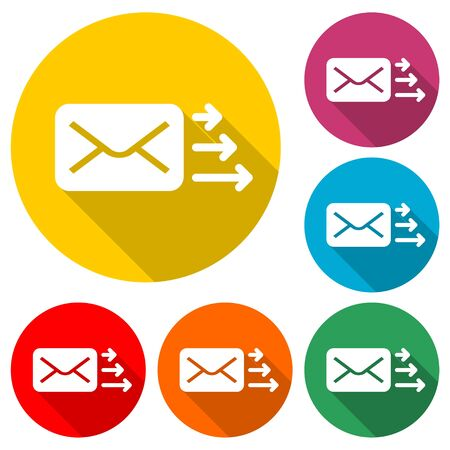 Letter icon, Send email message, color icon with long shadow