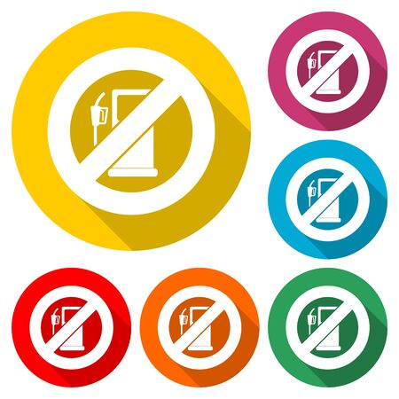 No Gas Sign, No fuel warning sign icon, color icon with long shadow Ilustrace