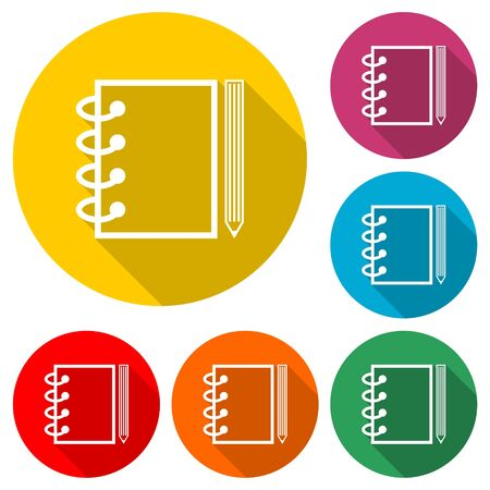 Notepad line icon, notebook icon, color icon with long shadow