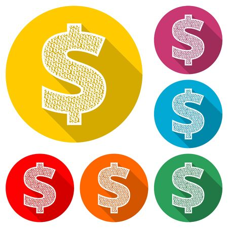 Dollars sign icon. USD currency symbol, color icon with long shadow