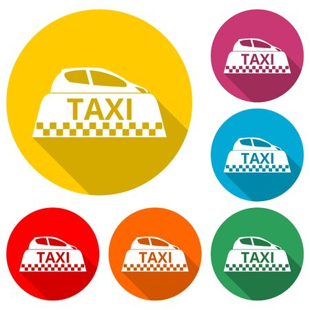 Taxi icon, Taxi color icon with long shadow