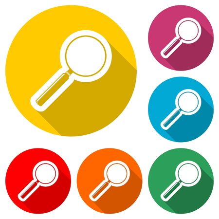 Search icon, Magnifying glass, color icon with long shadow Ilustracja