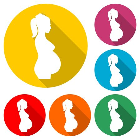 Silhouette pregnant woman icon, color icon with long shadow
