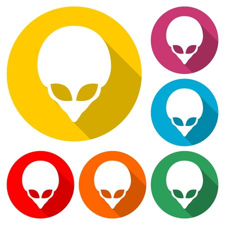 Alien head icon, Extraterrestrial alien face, color icon with long shadow