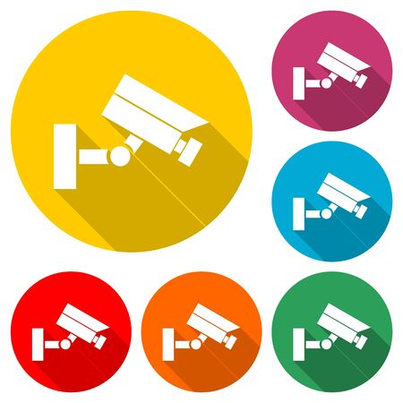 Security camera icon, color icon with long shadow