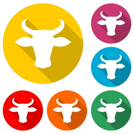 Bull head icon, color icon with long shadow
