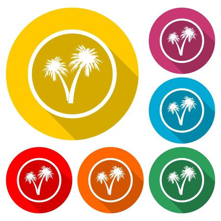 Palm Tree Silhouette icon, color icon with long shadow