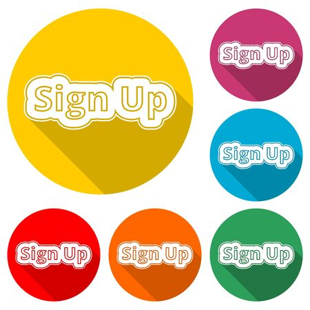 Sign up sign, Sign up icon, color icon with long shadow Ilustração