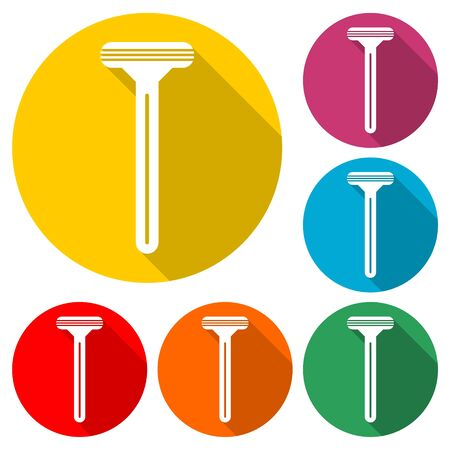 Razor icon, color icon with long shadow 向量圖像