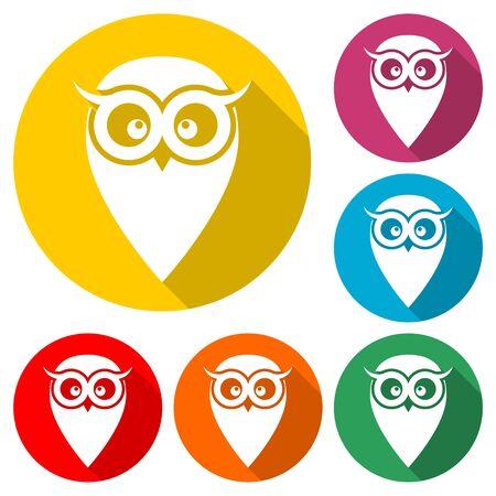 Owl icon, Owl, Owl illustration, color icons set 向量圖像