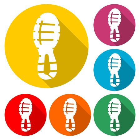 Sport shoe icon, color icon with long shadow