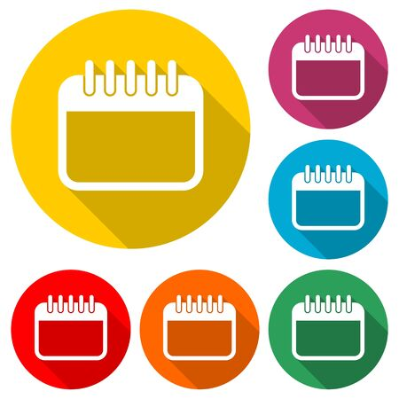 Calendar line icon, color icon with long shadow Illustration