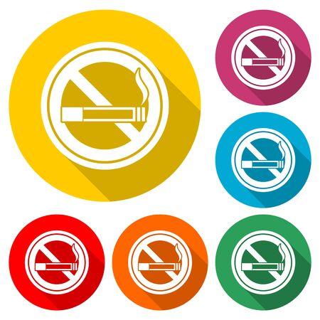 No smoking, No smoking icon, color icon with long shadow