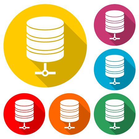 Hosting-Serverschatten, Datenbanksymbol, Farbsymbol mit langem Schatten