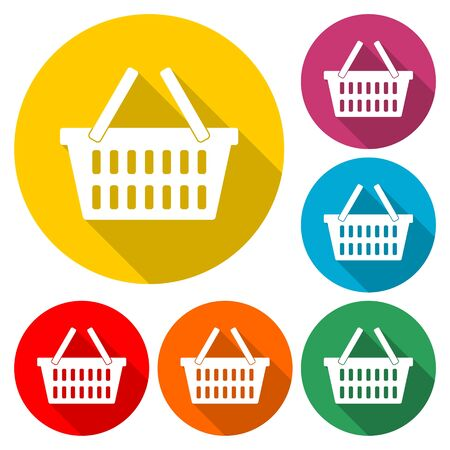 Basket icon, Basket shopping commercial icon, color icon with long shadow