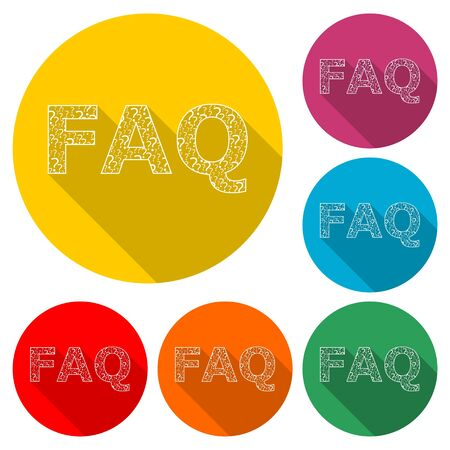 Frequently Asked Questions, FAQ icon, color icon with long shadow Ilustração