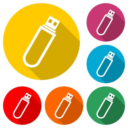 Usb flash memory icon, color icon with long shadow