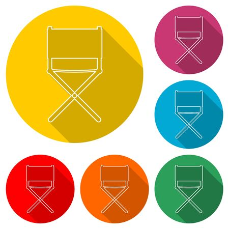 Director chair icon, color icon with long shadow