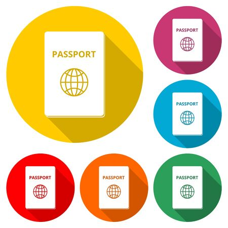 Passport simple icon, color icon with long shadow
