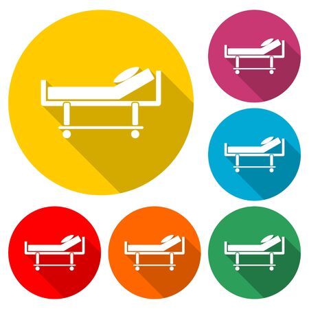 Hospital bed icon, Hotel sign, color icon with long shadow Archivio Fotografico - 131064925