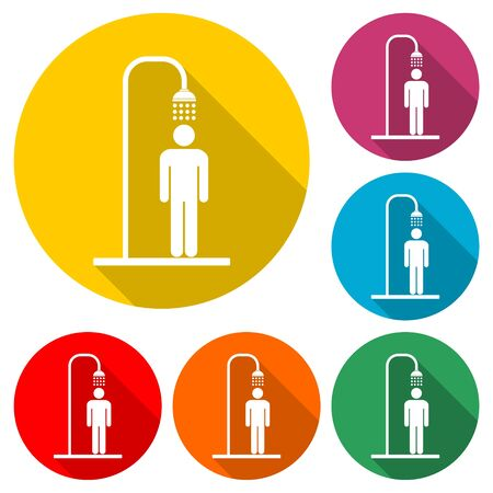 Shower icon, color icon with long shadow  イラスト・ベクター素材