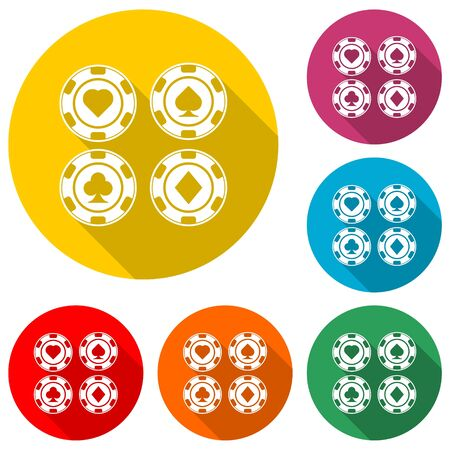 Casino chip icon, Poker icon, color icon with long shadow