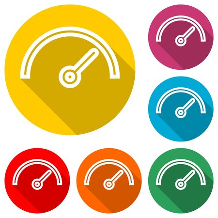 Vector performance measurement icon, speedometer icon, color icon with long shadow