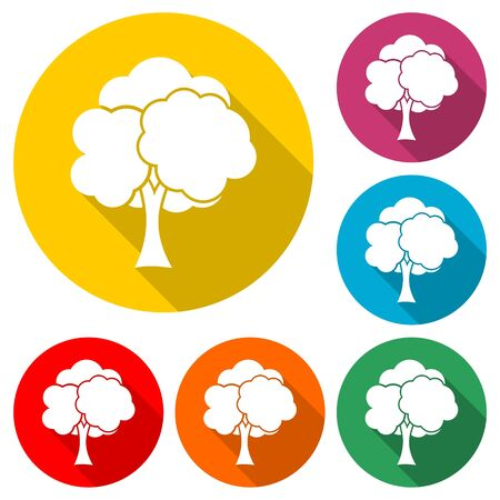 Tree icon, color icon with long shadow Ilustração