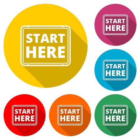 Start here sign, Start here icon, Start here button, color icon with long shadow