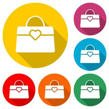 Women handbag icon, color icon with long shadow