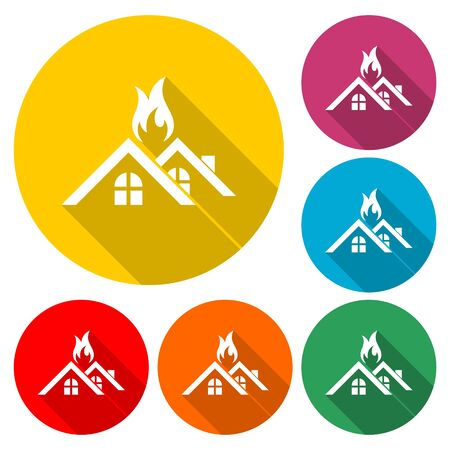 Fire warning icon, House warning icon, color icon with long shadow