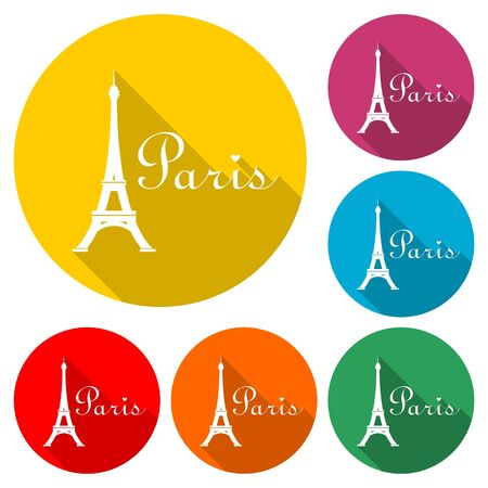 Paris Eiffel Tower icon, color icon with long shadow