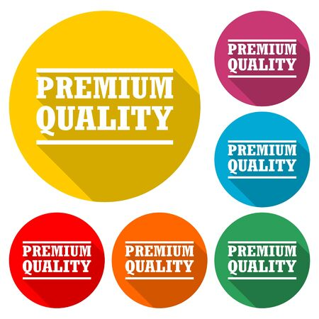 Premium quality icon, Premium quality label, color icon with long shadow