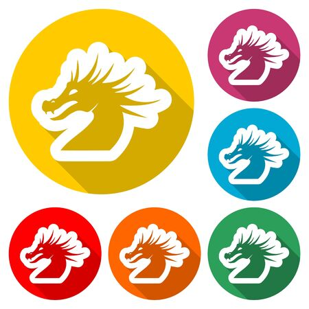 Dragon mascot icon, Silhouette Of Dragon, color icon with long shadow