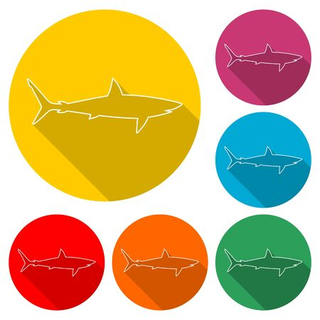 Shark sign, Shark line icon, color icon with long shadow