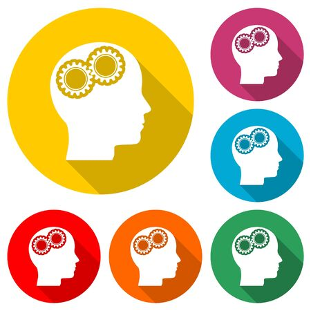 Human head with gears icon, Head with gears concept, color icon with long shadow
