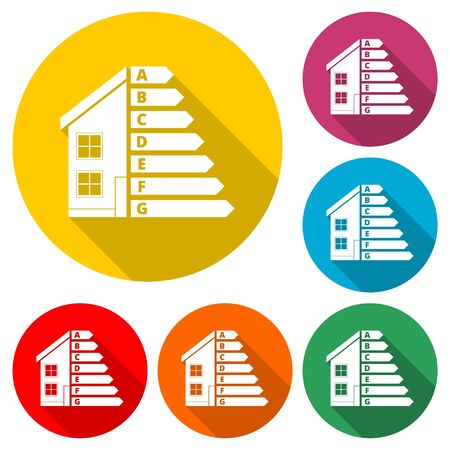 Housing energy efficiency icon, House and energy efficiency concept, color icon with long shadow Çizim