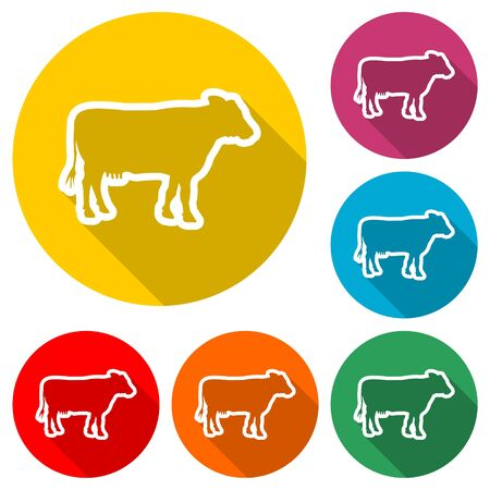 Cow silhouette icon, color icon with long shadow