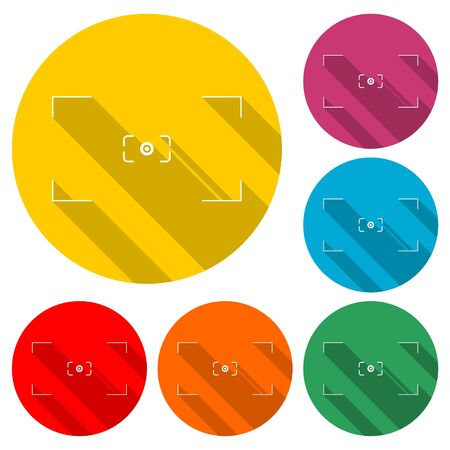 Camera viewfinder icon, color icon with long shadow