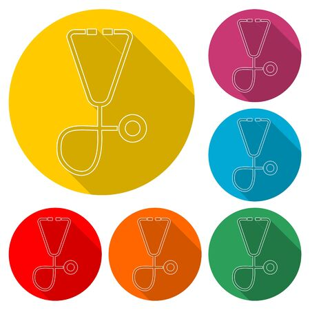 Stethoscope icon, color icon with long shadow