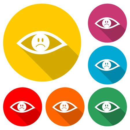 Sad Eye sign sticker, Smile Icon, color icon with long shadow Иллюстрация
