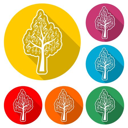 Tree Treble Clef icon, Musical key, color icon with long shadow