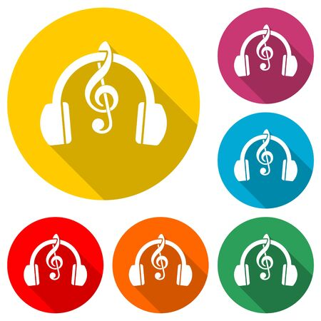 Headphones with treble clef icon, color icon with long shadow