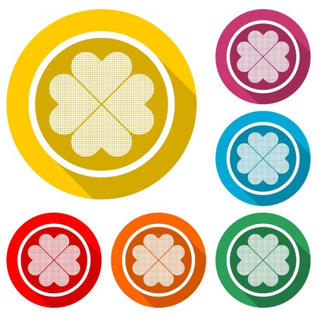Four leaf clover icon, color icon with long shadow